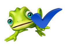 Chameleon cartoon character with right sign Stock Image