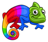Chameleon Cartoon Rainbow Mascot Stock Images