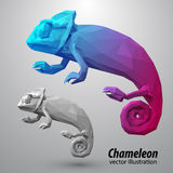 Chameleon from color triangles. Stock Photos