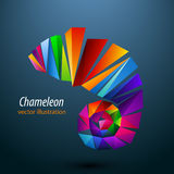 Chameleon from color triangles. Logo Stock Photography