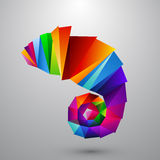 Chameleon from color triangles. Logo Stock Photo