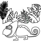 Chameleon coloring page. Hand drawn chameleon coloring page for kids Royalty Free Stock Photos