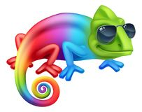 Chameleon Cool Cartoon Character In Shades Mascot. A cool chameleon lizard cartoon character in shades or sunglasses vector illustration