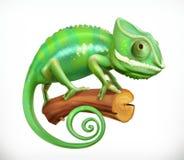 Chameleon. 3d vector. Green chameleon. 3d vector icon stock illustration