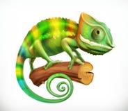 Chameleon. 3d vector icon. Chameleon on branch. 3d vector icon vector illustration