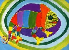 Chameleon dos desenhos animados Fotos de Stock Royalty Free