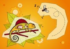 Chameleon e mosca - vetor Imagem de Stock