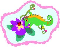 Chameleon and Flower Frame Stock Image