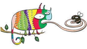 Chameleon and Fly Cartoon Royalty Free Stock Photo