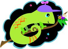 Chameleon and Fly Friends Stock Images