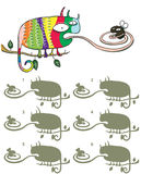 Chameleon And Fly Mirror Image Visual Game. For children. Illustration is in eps10  mode! Task: Find the right mirror image! Answer: No. 4 Royalty Free Stock Photos