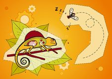 Chameleon and Fly - Vector Stock Image
