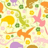 Exotic Animals Pastel Colors Seamless Pattern Vector Graphic Art. Chameleon, gecko, kiwi, hummingbird pastel colors shapes, and some flowers and swirls, all vector illustration