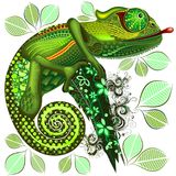 Chameleon Green Fantasy. Fantasy Chameleon, on monochrome several shades on Green, all patterned with ornamental elements, which have been created one by one and stock illustration