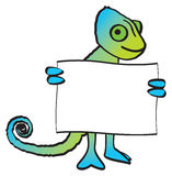 Chameleon Holding Sign. A cartoon smiling chameleon holding a blank sign Royalty Free Stock Photo