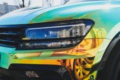 Chameleon holographic colour car. Modern LED headlights.