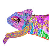 Chameleon lizard drawing color graphics details branch Stock Photo