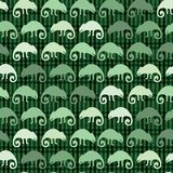 Chameleon lizard and succulent plant seamless pattern. Green reptile repeatable tile vector illustration stock illustration