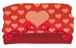 CHAMELEON IN LOVE. Two chameleons falling in love vector illustration