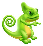 Chameleon mascot pointing. Illustration of a cartoon chameleon mascot standing and pointing Stock Photography