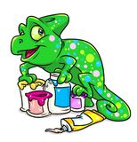 Chameleon paint  cartoon illustration Royalty Free Stock Photography