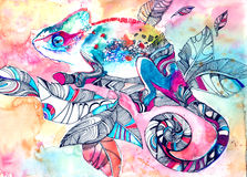 Chameleon. Painting of bright summer animal Stock Photography