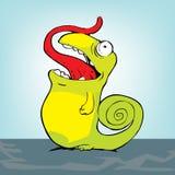 Chameleon pequeno com lingüeta vermelha Ilustração Royalty Free