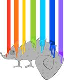 Chameleon and rainbow. Grey Chameleon and  rainbow of paint Stock Images