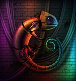 Chameleon robot concept. Vector concept of fictional multicolored robot reptile chameleon with wires on brick wall background and green, blue, orange, purple
