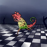 Chameleon running away. Picture with shocked chameleon running away Royalty Free Stock Photos