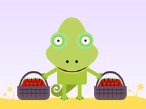 Chameleon's strawberries Royalty Free Stock Images