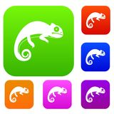 Chameleon set collection. Chameleon set icon in different colors isolated vector illustration. Premium collection Stock Photo