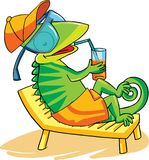 A chameleon sitting on lounge chair. Vector illustration. A chameleon sitting on lounge chair and relaxing with a juice glass in its hand, equiped with Royalty Free Stock Image