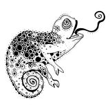 Chameleon. Stylized chameleon lizard. Hand Drawn Reptile, vector illustration in doodle style Stock Photo