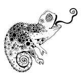 Chameleon. Stylized chameleon lizard. Hand Drawn Reptile, vector illustration in doodle style Royalty Free Illustration