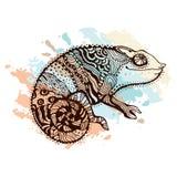Chameleon. Stylized chameleon lizard. Hand Drawn Reptile, vector illustration in doodle style Stock Illustration