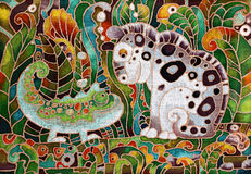 Chameleon and Tiger, Batik Stock Photo