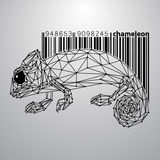 Chameleon from triangles and barcode. Stock Image