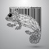 Chameleon from triangles and barcode. Stock Photos