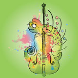 Chameleon on violin Stock Photography