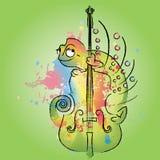 Chameleon on violin. An illustration of a color-changing chameleon on a violin Stock Photography