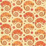 Chameleons decorative seamless pattern in cartoon  Stock Images