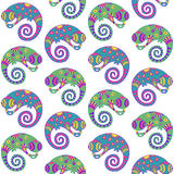 Chameleons decorative seamless pattern. Stock Image