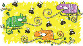 Chameleons and Flies Cartoon Set Stock Image