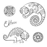 Chameleons and flowers in black color and ethnic style. Stock Image