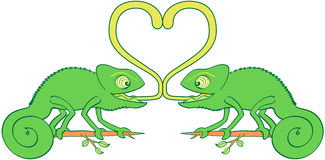 Chameleons sticky love royalty free illustration