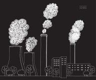 Chaminé branca no fundo preto A ilustração da poluição do ar causada por emanações da fábrica e a planta conduzem, tubo Imagens de Stock