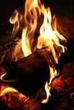 Chaminé de madeira, close up de carvão da chama do fogo Fotografia de Stock