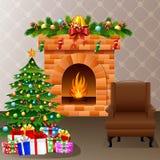 Chaminé do Natal com árvore, presentes e sofá do xmas Fotografia de Stock