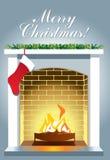 Chaminé do Natal com fogo ardente no fundo cinzento ilustração do vetor